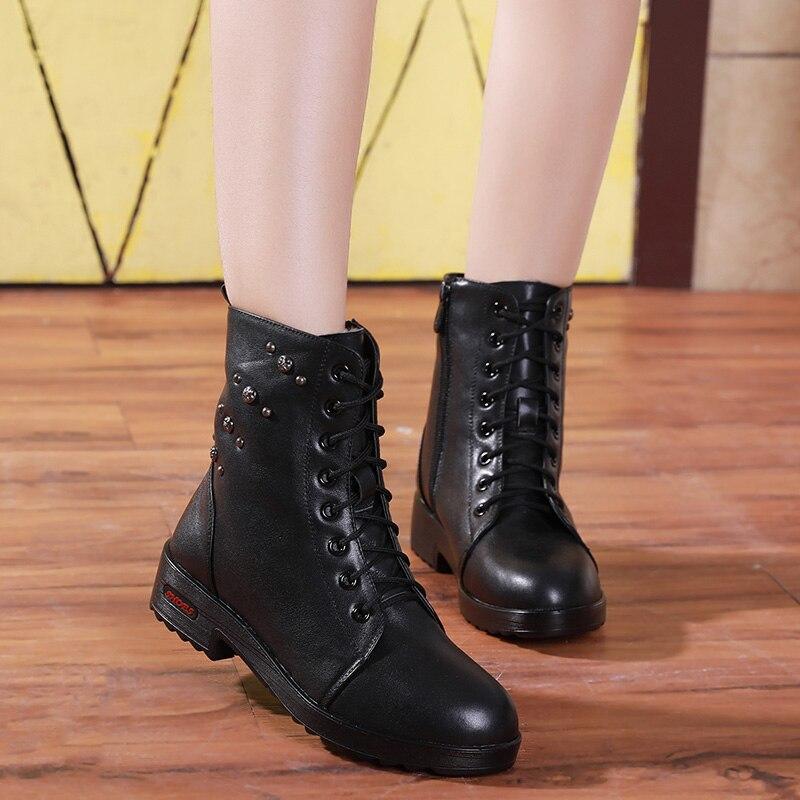 Antideslizante Martin Botas Cuero Confort Zapatos Mujer Vaca Terciopelo De Plus Negro Invierno Moda marrón Encaje 2018 Nueva Rq7xCpgOwn