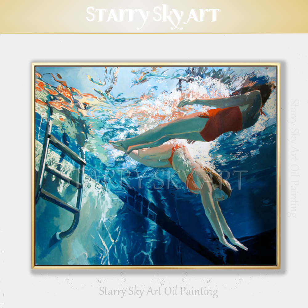 Excellent Artist Pure Hand-painted High Quality Beautiful Lady Swimming Oil Painting on Canvas Fine Art Swimmer Oil PaintingExcellent Artist Pure Hand-painted High Quality Beautiful Lady Swimming Oil Painting on Canvas Fine Art Swimmer Oil Painting
