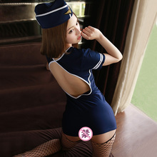Women's Air Stewardess Mini Dress and Hat Costume