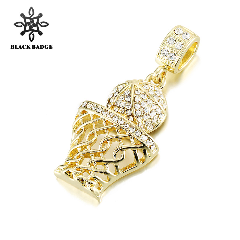 Hip Hop Jewelry Tiny Basketball Hoop Pendant For Men Iced Out Bling Crystal Gold/Silver High Quality Small Necklace With Chain