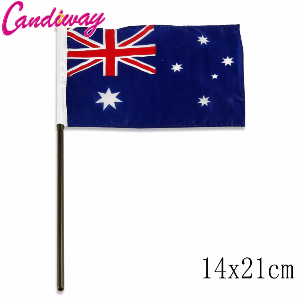 10pcs lot national flag country flag stick flags flag of the united - 14x21cm 5pcs Australian National Flag Hand Waving Flags With Plastic Flagpoles Activity Parade Sports Home Decoration