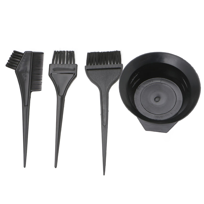 4 Pcs Hairdressing Brushes Bowl Combo Salon Hair Color Dye Tint Tool Set Kit