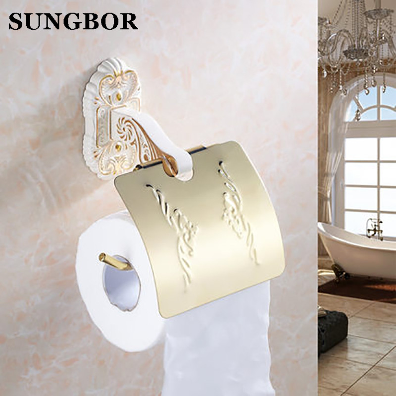 ФОТО Free shipping Luxury brass & marble golden toilet paper holder,paper roll rack,tissue box,tissue roll Bathroom accessories