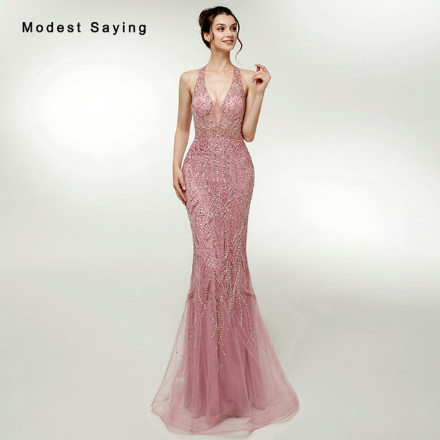 Elegant Dusty Rose Mermaid Halter Beaded Evening Dresses 2018 with Rhinestone  Formal Women Party Prom Gowns vestidos de fiesta 8dd22a3153f4