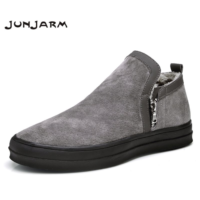 JUNJARM Mens Chelsea Boots Winter Waterproof Men Snow Boots Zipper Pig Suede Men Ankle Boots Warm Men Winter Boots Large Size 47