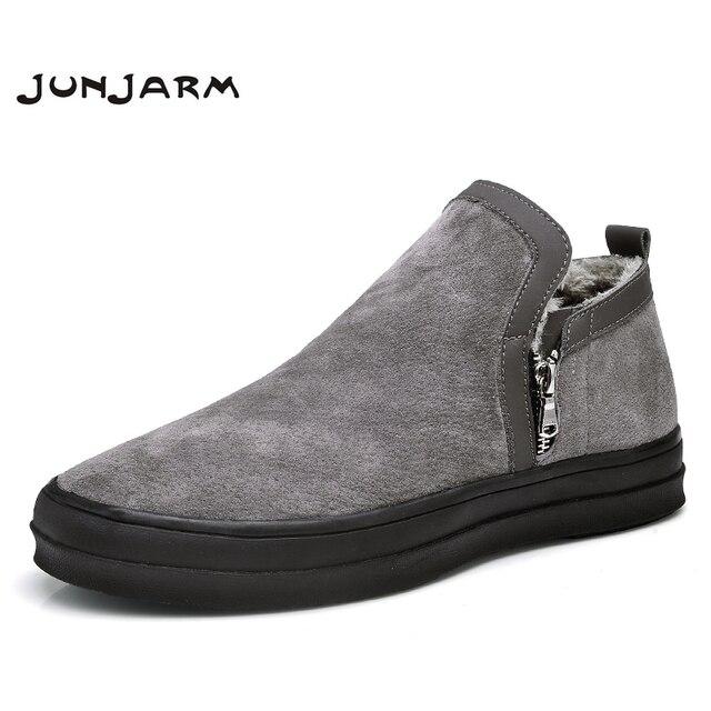 122f285c83f JUNJARM Mens Chelsea Boots Winter Waterproof Men Snow Boots Zipper Pig  Suede Men Ankle Boots Warm Men Winter Boots Large Size 47