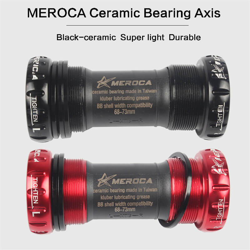 MEROCA Light Ceramic Bearing Axis Screw Type Bike Bottom Bracket Axis Anti-friction for Mountain Road Bicycle Bottom Bracket