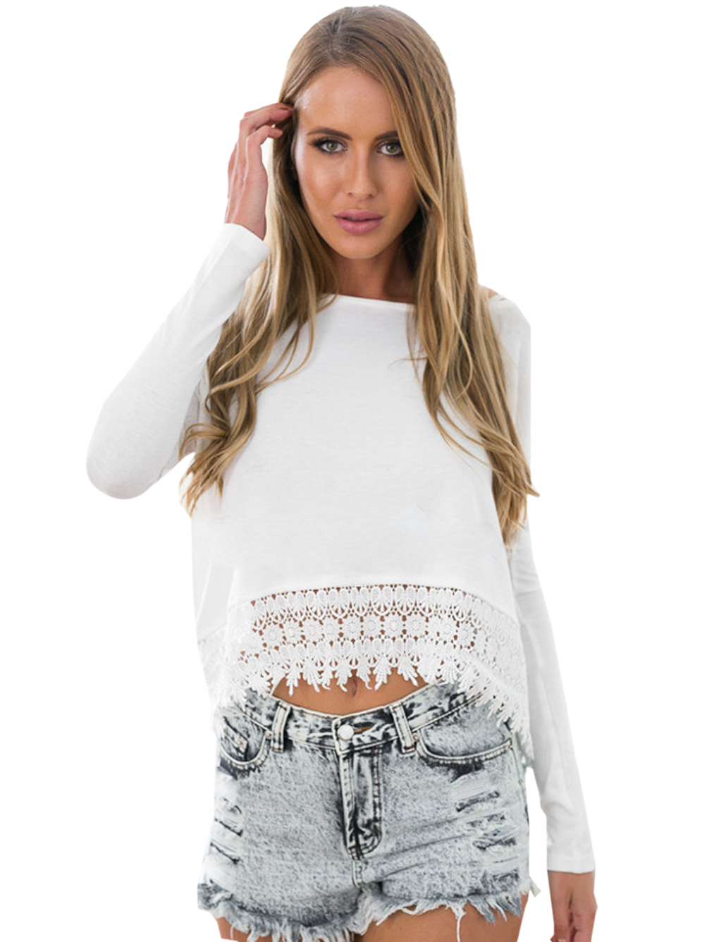 Aliexpress.com  Buy O Neck Lace Top Blouse Casual Fashion White Loose Crop Tops Full sleeve New ...