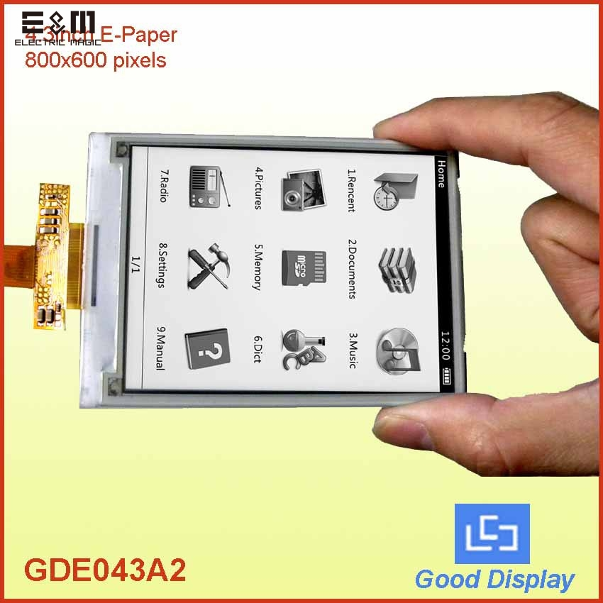E&M 4.3 Inch E Ink Paper 800*600 26pin FPC 0.4mm LCM Screen GDE043A2 AXT626124 E-ink Eink