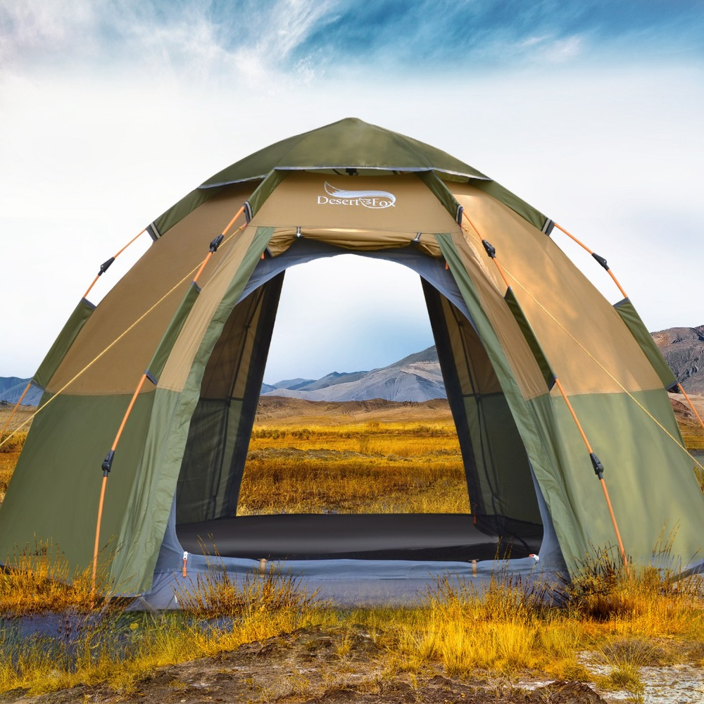 Desert Fox 3 4 Person Dome Automatic Tent Easy Instant Setup Protable Camping Pop Up 4