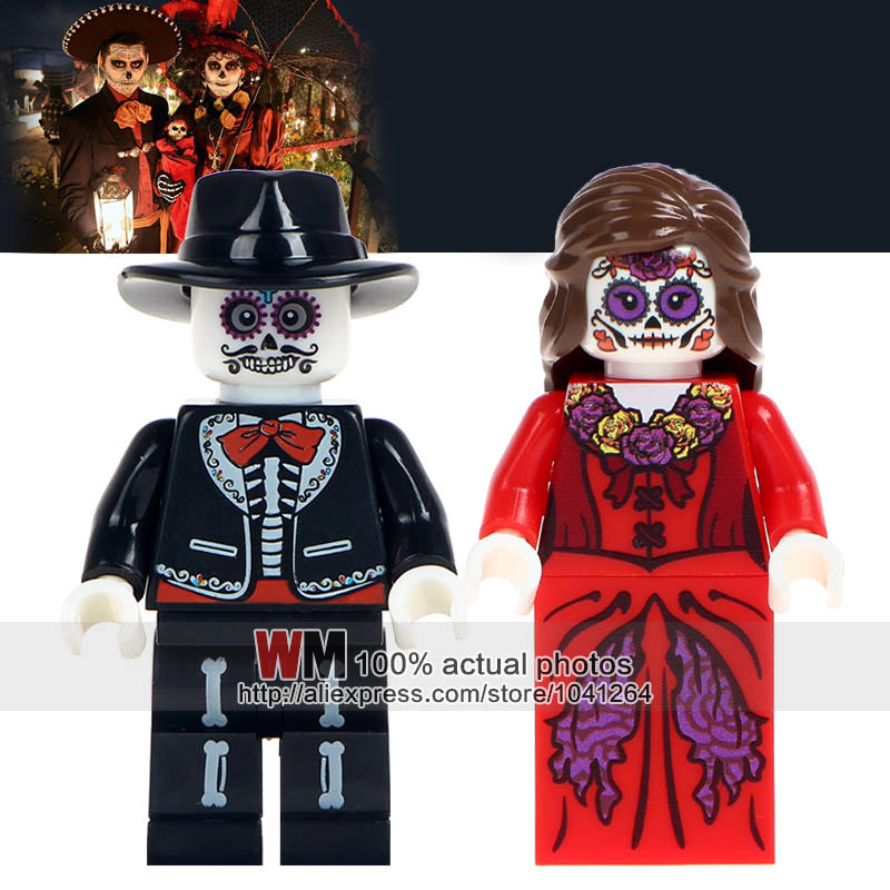 Blocks Intellective Building Blocks 40 Pcs/lot Skeleton Movie Coco Day Of The Dead Holiday Education Learning Toys For Children Gift Wm8001 Wm8002 Long Performance Life