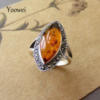 Yoowei Hurtownie Baltic Amber Dzwoni na Prezent W Stylu Vintage 925 Sterling Silver naturalnego Bursztynu Pierścień Owalne Biżuteria dla Dziewczyn USA Rozmiar 7 8