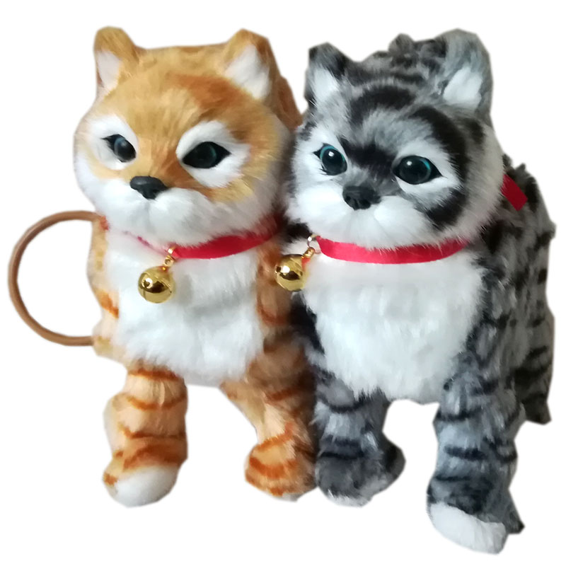 1Pcs Robot Cat Electronic Cat Toy Electronic Plush Pet Toy Singing Songs Walk Mew Leash Kitten Toys For Children Birthday Gifts