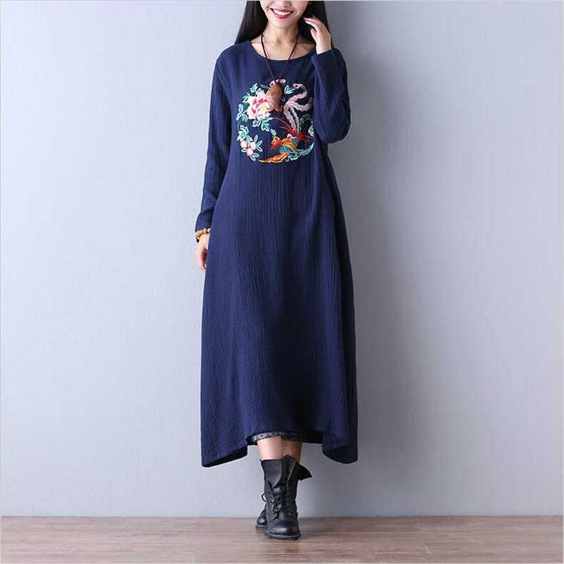 b8f7a2c0f2202 2018 Women Autumn winter warm loose long dress Chinese style Vintage  embroidered art Cotton linen dress