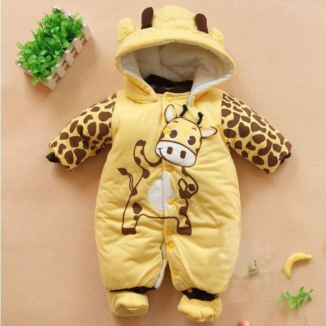 Invierno Bebé niños niñas Romper ropa para bebés animales lindos dibujos  animados grueso cálido monos disfraz 4c55d5aa045