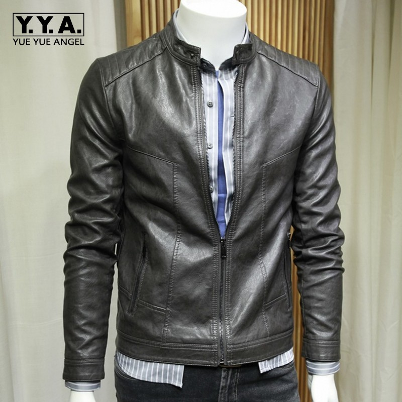 Fashion Korean Solid Slim Fit Mens Faux Leather Jackets Stand Collar Long Sleeve Zip Moto Biker Big Size Male PU Leather Coats