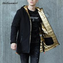 Men's Parkas With Hat Silver Winter Jacket For Men Hooded Collar Zipper Gold Male Coat Thicken Warm Outwear Size M-3XL
