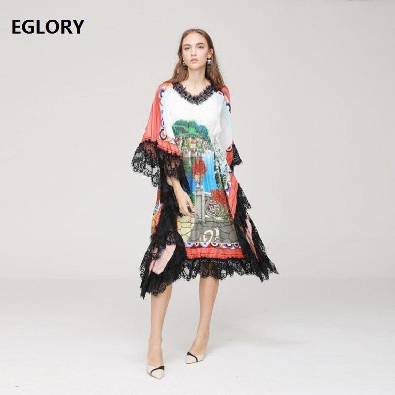 Nouveau 2019 printemps été robe de haute qualité femmes col en v dentelle Patchwork Chic imprimé décontracté bohème plage robe grande taille vêtements