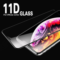 11D Fully covered tempered GLASS for  iPhone7 8 6s plus xr  Protective Glass on for iphone x xs max tempered film glass