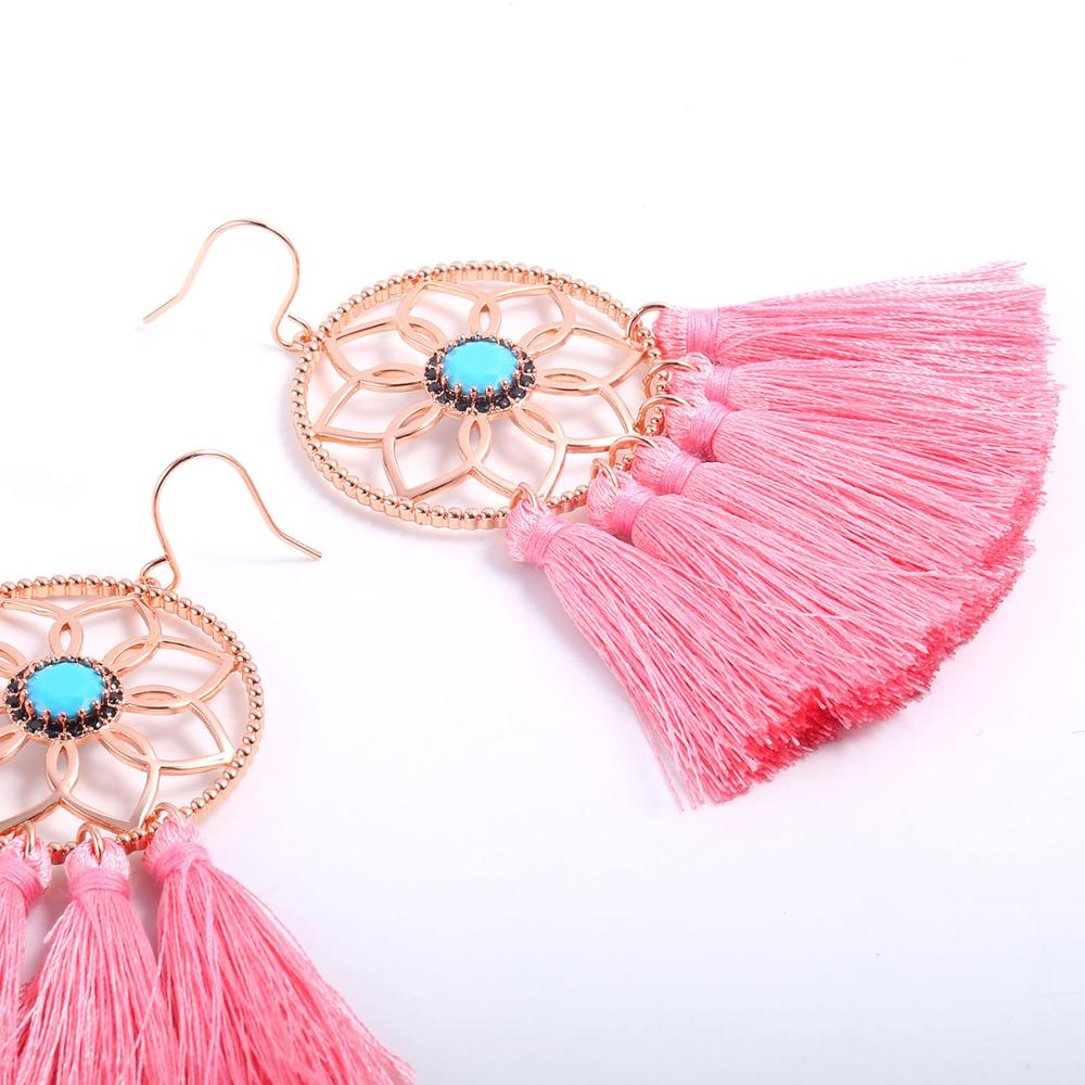 2019 New Women 39 s fashion decorative jewelry earrings Boho Rose Gold Color Plated Dream Cather Tassel Earrings Statement Earrings in Drop Earrings from Jewelry amp Accessories