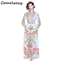 2019 Fashion Runway Spring Summer Dress A Line Women's Bow Tie Long Sleeve Flower Print Casual Holiday Elegant Long Maxi Dress
