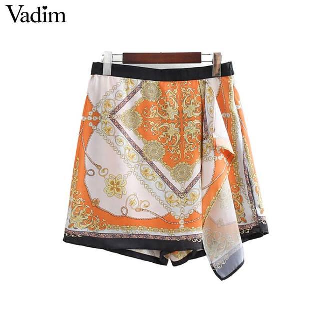 Vadim femmes élégant chaînes imprimer shorts jupes glissière latérale conception dames de mode casual chic shorts pantalones cortos SA056