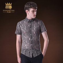 FANZHUAN Featured Brands Men's Lace Shirts Short-Sleeve Shirts Male Slim Fashion Clothes Chemise Masculina Camisa Vetement Homme