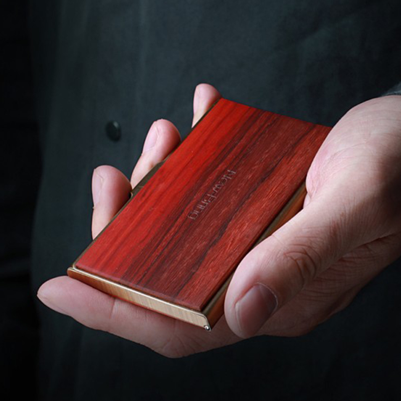 NewBring Mini Wood Metal Business Card Case Slim Bank Credit ID Card Holder Front Pocket For Gift-in Card & ID Holders from Luggage & Bags