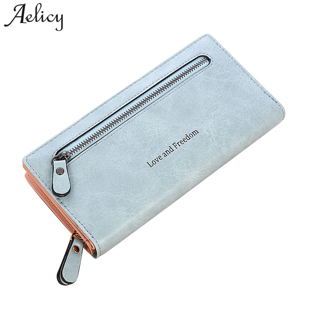Aelicy Women Wallets Brand Design High Quality PU Leather Wallet Female Hasp Fashion Dollar Price Long Purse Card Holder Clutch