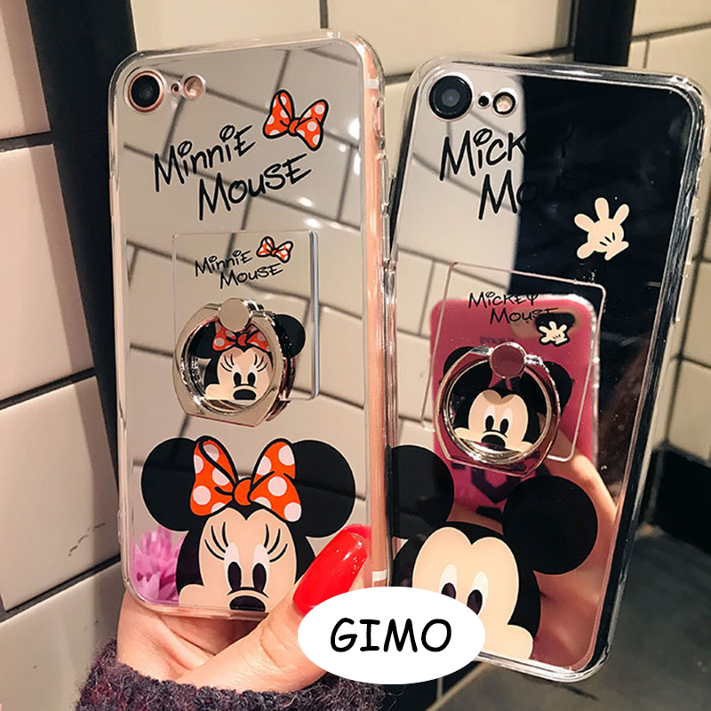 Mickey Mouse Mirror Cases with Ring Stander for Samsung S8 S8plus Plus Acrylic Back Cover Coque Cute Cartoon