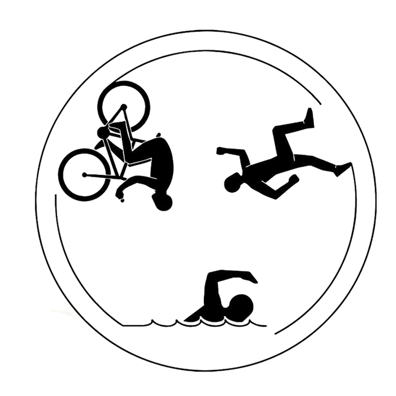 13.8CM*13.8CM Creative Triathlon Sports Running Swimming Cycling Silhouette Decor Car Stickers Vinyl Decal S9-0627
