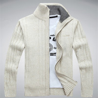 4 Color White Blue Man Sweaters Long Sleeve Casual Men Cardigan Thick Sweater Knitting Sweater Outerwear