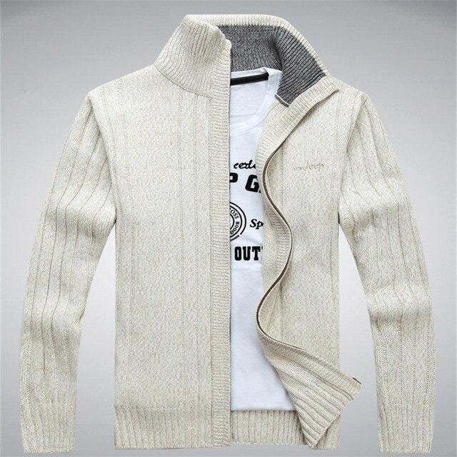 NIANJEEP Wool Men's Cardigans Sweaters Zipper Men's Sweaters Winter Warm Thick Velvet Sweaters Warm Brand Clothing A0369