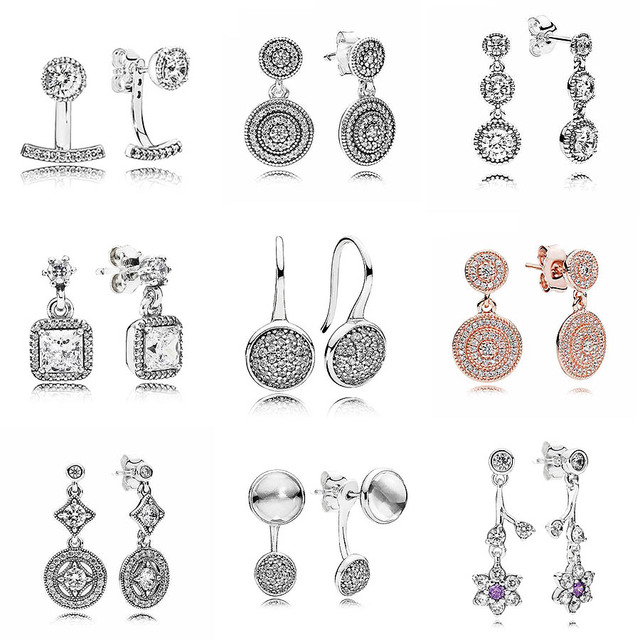 a721f7ce0 Dazzling Poetic Droplets Abstract Elegance 925 Sterling Silver Hanging  Earrings For Women Wedding Party Gift DIY Pandora Jewelry