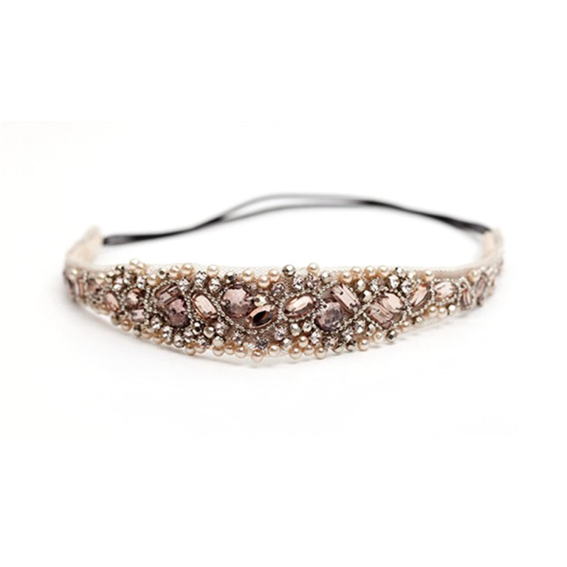 Hair Accessories Fashion Crystal Rhinestone Beads Handmade Elastic Headband Pure Manual Club Beaded Measle Headdress Headwrap