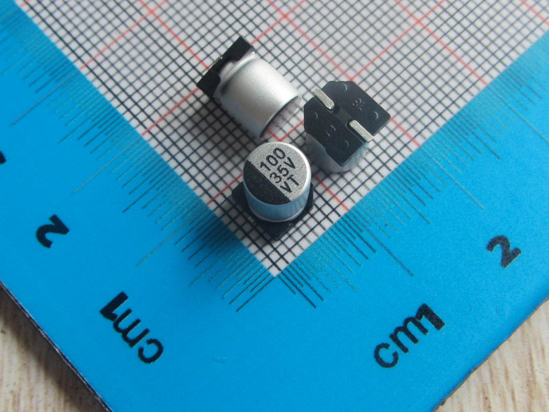 50pcs/lot high Quality <font><b>SMD</b></font> Aluminum Electrolytic <font><b>Capacitor</b></font> 35V <font><b>100UF</b></font> 6*7MM electrolytic <font><b>capacitor</b></font> <font><b>100uf</b></font> image