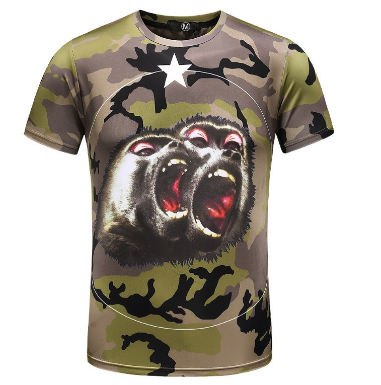 New 2018 Men Digital Roaring orangutan star T Shirts Camo T-Shirt Hip Hop Skateboard Street Cotton T-Shirts Tee Top Top #G4