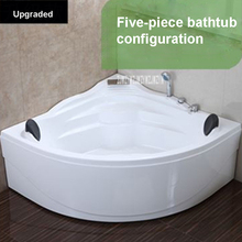 1.4M Acrylic Bath tub With pillow and Faucet  Bathroom Wall Corner Double Adult Bathtubs for Household / Hotel High-quality