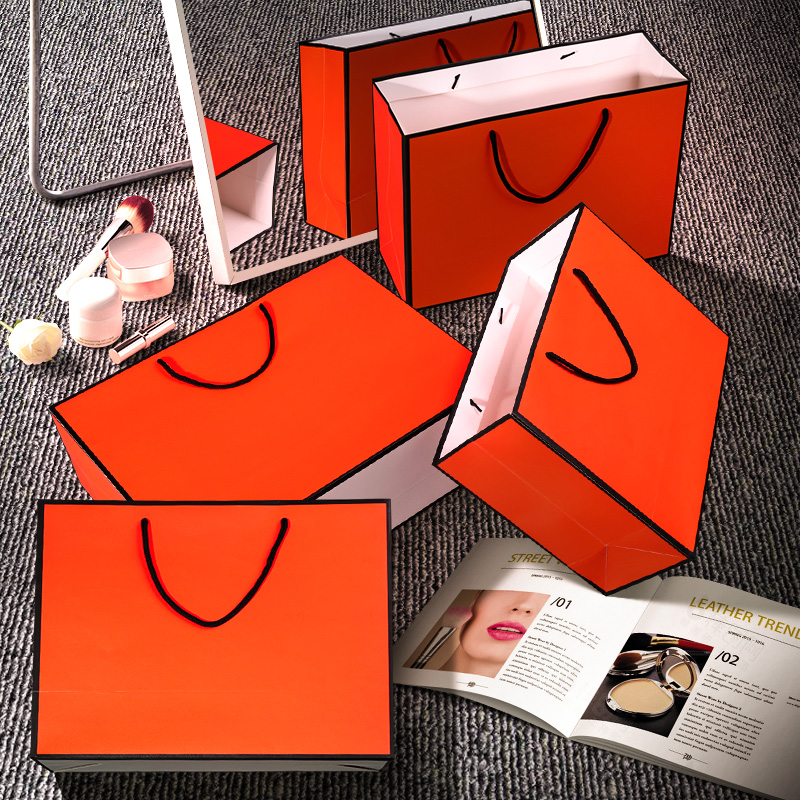 10pcs/lot large Orange kraft paper packaging bag,garment gift paper bag with handles, small blank paper shopping bag