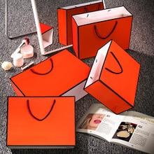 Kraft-Paper Gift Orange Small Garment Handles Large with Blank 10pcs/Lot