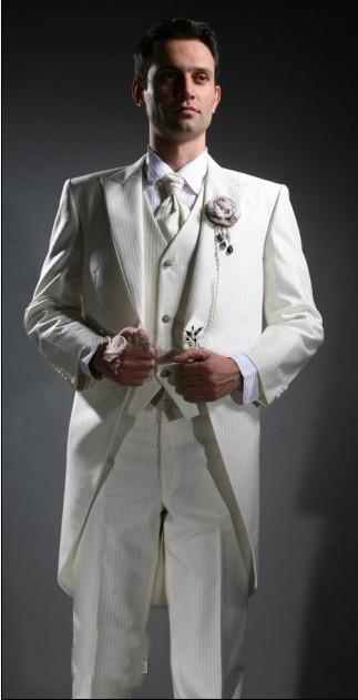 Здесь продается  Morning style white groom dress, pointed man, wedding dress style, long coat (coat + slim pants + tie + vest)  Одежда и аксессуары