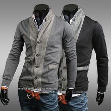 Tracksuits Sale 2014 Spring And Autumn New Arrival Boys Patchwork Collar Sweatshirt Outerwear Male Cardigan Fashion Slim Men's