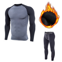 Winter Quick Dry Men S Running Sets 2 Pieces Sets Compression Sports Suits Basketball Tights Gym
