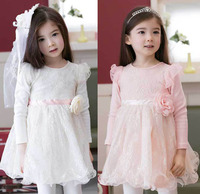 2015 Spring Winter Baby Flower Girls Lace Wedding Evening Party Dresses Children Princess Tutu Dress Kids
