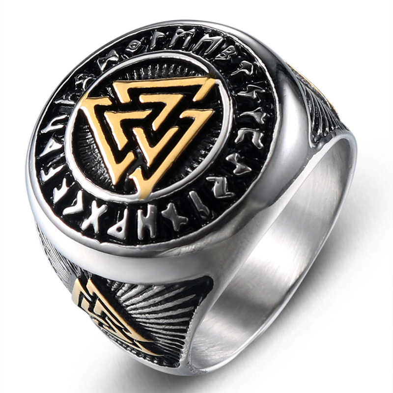 316L Stainless Steel Valknut Signet Ring Scandinavn Odin Symbol Norse Vikingar Viking Rings For Men Boys Fashion Punk Jewelry