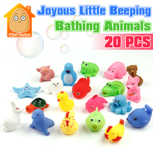 Bath Baby Toys 0-12 Months 20PCS Beeding Cartoon Animal Baby Bathing Sounding Toys Educational Toys