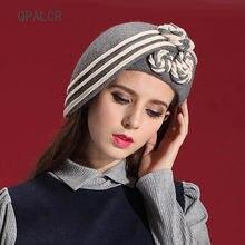 d32cc3f9f9f QPALCR Elegant Women s Hat Wool Felt Flowers Fedora Hats Vintage Painter Hat  Church Caps Classic Fascinator Felt Fedoras Berets