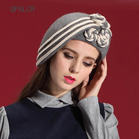 QPALCR Elegant Women's Hat Wool Felt Flowers Fedora Hats Vintage Painter Hat Church Caps Classic Fascinator Felt Fedoras Berets