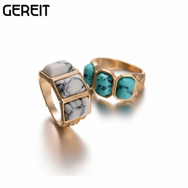 f12c6cf8e Antique Three Stone Turquoise Ring Gold Tone White Blue Faux Marble Stone  Geometric Ring Punk Jewelry For Women Anillos JR15104