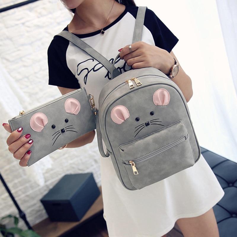 100pcs/lot Women Cartoon Mouse PU Leather Backpacks Set Womens Backpacks Teenage Girls Stylish School Bags Back Packs Bags